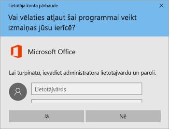 Ekrānuzņēmums, kurā redzams lietotāja konta kontroles logs