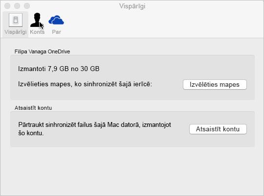 Sinhronizācijas mapes atlase pakalpojumā OneDrive darbam ar Mac