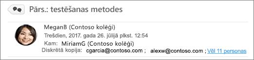 Diskrētās kopijas adresātu skatīšana nosūtīto vienumu mapē