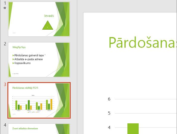 Parāda slaida rūti ar atlasītu trešo slaidu programmā PowerPoint