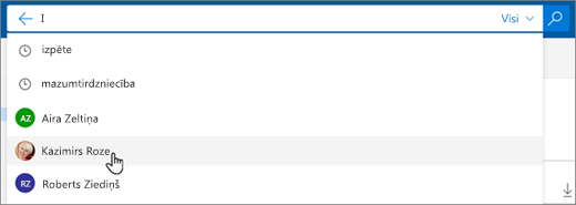Ekrānuzņēmums ar meklēšanas rezultātos ieteiktajām personām