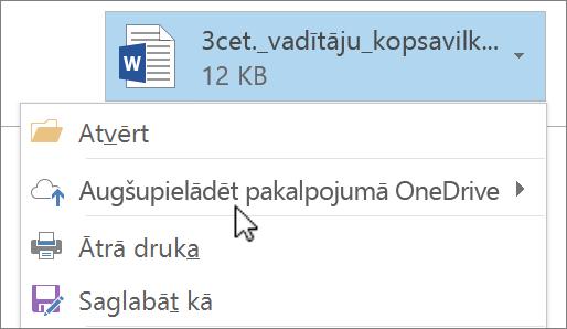 Ekrānuzņēmums, kurā redzams Outlook izveidošanas logs ar pievienotu failu, kurā atlasīta komanda Augšupielādēt.