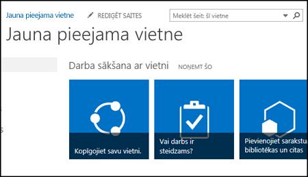 Ekrānuzņēmums ar jaunu SharePoint vietni, kurā redzami vietnes pielāgošanai izmantojamie elementi