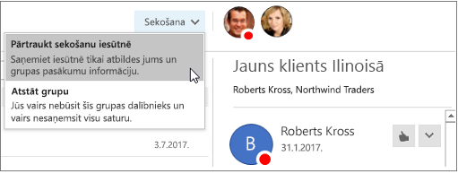 Grupas galvenē programmā Outlook 2016 poga abonēt