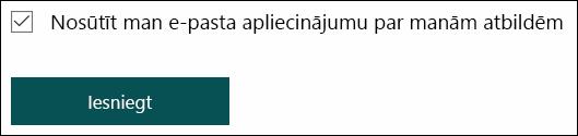 Nosūtiet sev e-pasta saņemšanas jūsu atbildes Microsoft Forms iespēja