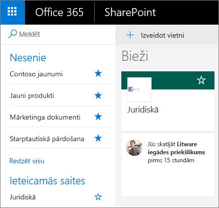 Ekrānuzņēmums ar SharePoint modernā režīma sākumlapu.