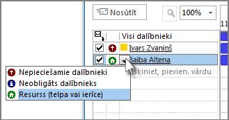 Noklikšķiniet uz ikonas pa kreisi no vārda un pēc tam noklikšķiniet uz Resurss