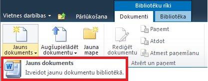 Jauna dokumenta pievienošana dokumentu bibliotēkai