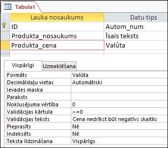 Lauka validācijas kārtula, kas parādīta Access tabulas noformētājā