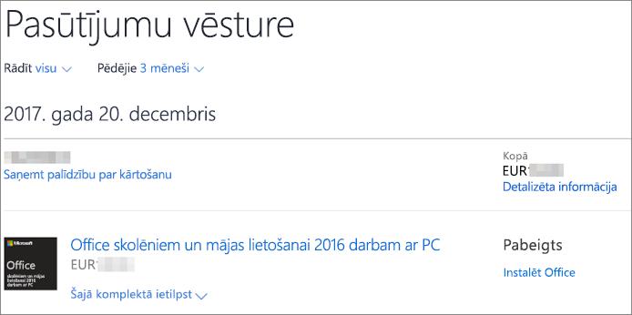 Rāda Microsoft Store pasūtījumu vēstures lapu