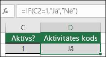 """Šūnā D2 ir iekļauta formula =IF(C2=1,""""JĀ"""",""""NĒ"""")"""