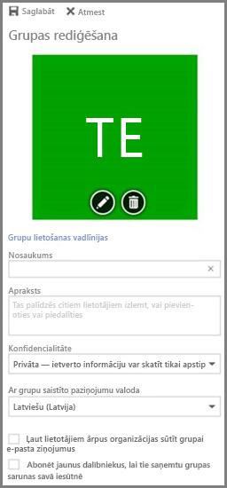 Noklikšķiniet uz Grupas lietošanas vadlīnijas, lai skatītu savas organizācijas Office365 grupu vadlīnijas