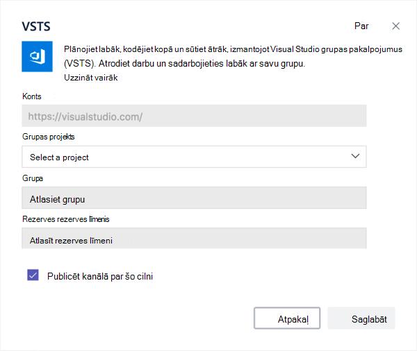 Visual Studio dialoglodziņš Pievienot Kanban paneļa cilnei