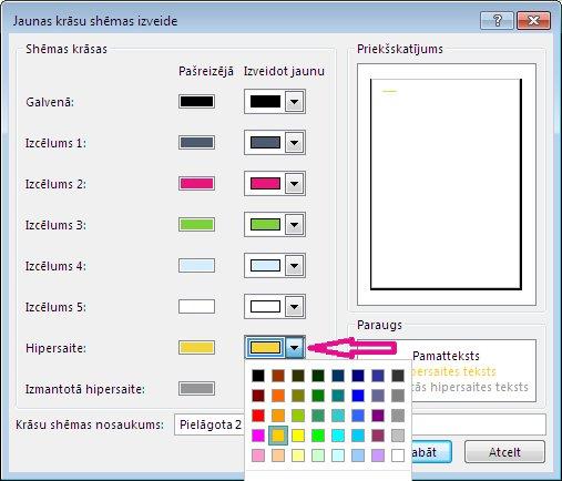 Jaunas krāsu shēmas izveide programmā Publisher, lai mainītu hipersaišu krāsas
