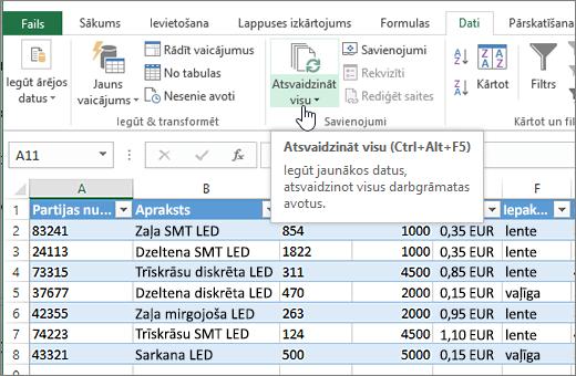 Excel izklājlapas importēto sarakstu un iezīmētu poga Atsvaidzināt visu.