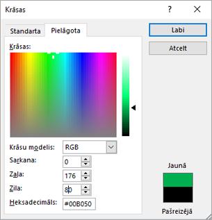 Rāda pielāgotas krāsas