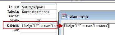Vaicājuma noformējuma attēls, kurā tiek izmantots kritērijs NOT ar AND NOT, kam seko no meklēšanas izslēdzamais teksts