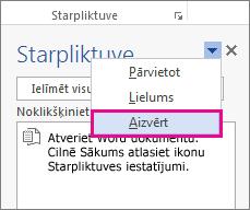 Starpliktuves aizvēršana programmā Word
