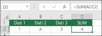 Pareizu formulu veidošana.  ŠūnasD2 formula ir nevis =A2+B2+C2, bet =SUM(A2:C2)