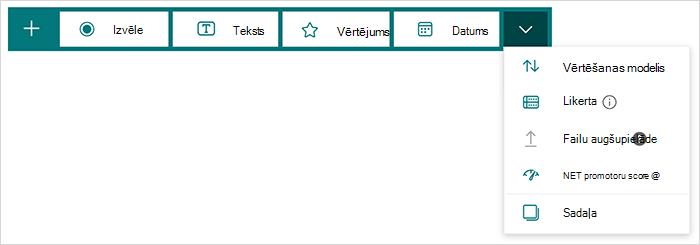 Jautājumu tipa opcijas programmā Microsoft Forms