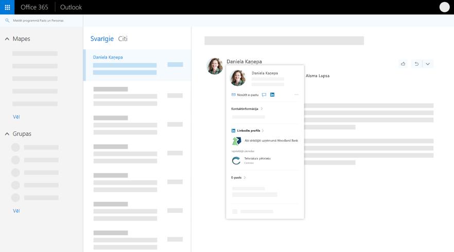 Profila kartīti programmā Outlook