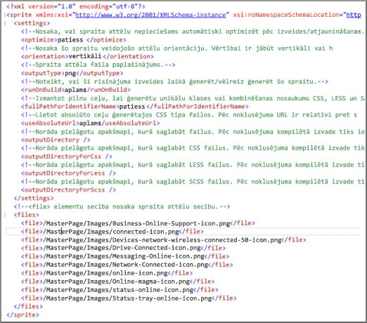 SPRITEXML faila ekrānuzņēmums