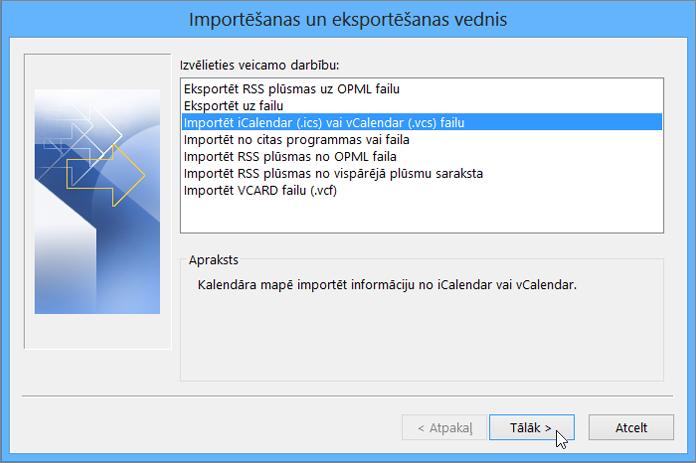 Izvēlieties Importēt iCalendar vai vCalendar failu
