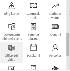 Ekrānuzņēmums ar Office365 video izvēlnes pogu pakalpojumā SharePoint.