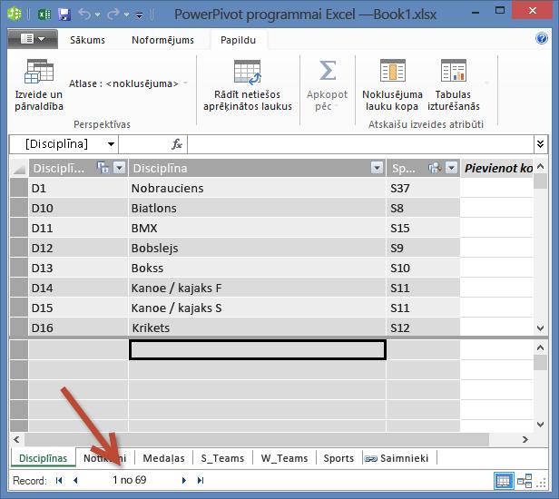PowerPivot parāda ierakstu skaitu