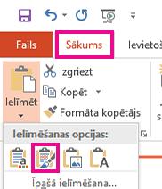 Ielīmēt izvēlnē izvēlieties ikonu paturēt avota formatējumu.