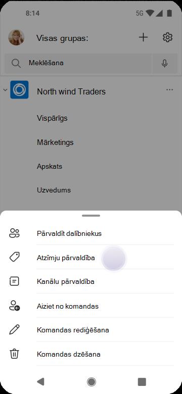 Atzīmju pārvaldība grupās, izmantojot Android