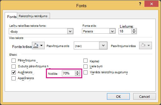 Parāda fontu dialoglodziņu programmā PowerPoint