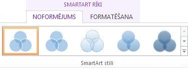 Sadaļas SmartArt rīki cilnes Noformējums grupa SmartArt stili