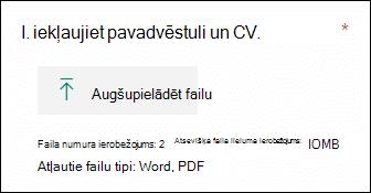 Jautājums programmā Microsoft Forms, kas ļauj augšupielādēt failus