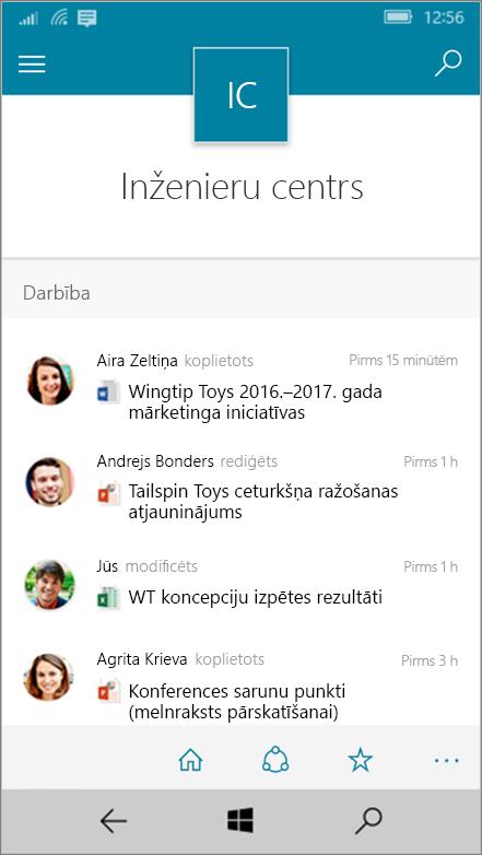 Windows 10 Mobile rāda darbību, failus, sarakstu un navigācijas