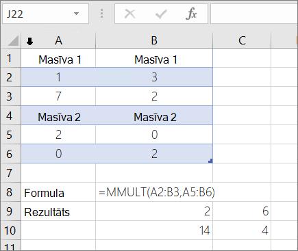 Funkcija MMULT — 1. piemērs