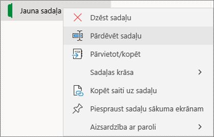 Ekrānuzņēmums ar sadaļas cilnes pārdēvēšanas kontekstizvēlni programmā OneNote darbam ar Windows10.