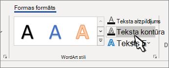 Atlasīts WordArt stilu teksta strukturējums