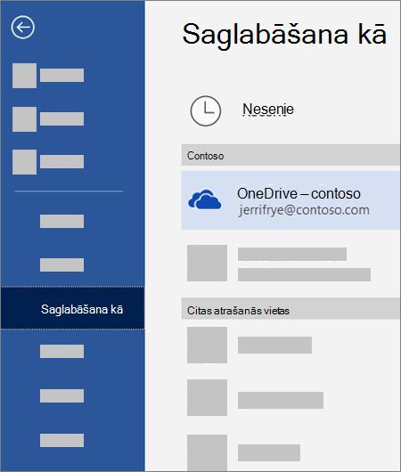 Faila saglabāšana no programmas Word pakalpojumā OneDrive darbam