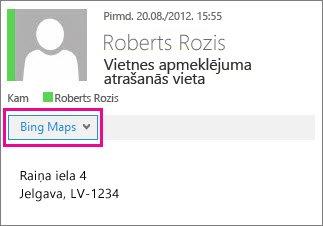 Outlook ziņojums, kurā tiek rādīta Bing karšu lietojumprogramma