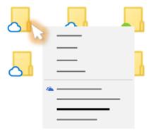 Konceptuāls opciju izvēlnes attēls, kad ar peles labo pogu noklikšķināt uz OneDrive faila no failu pārlūka