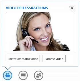 ekrānuzņēmums, kurā redzamas opcijas, kas tiek parādītas, norādot uz video pogu