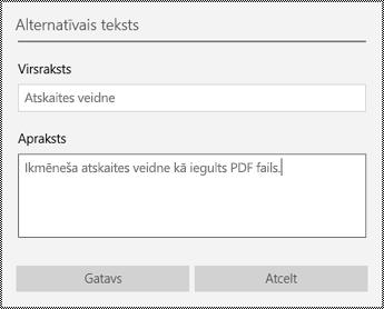 Alternatīvā teksta pievienošana iegultajiem failiem programmā OneNote darbam ar Windows10