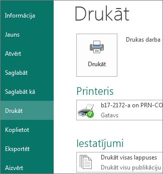 Ekrānuzņēmums, kurā redzamas drukas opcijas programmā Publisher.