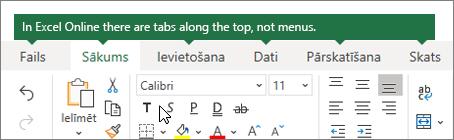 Sākums, ievietošana, datus, cilnes Skats programmā Excel Online