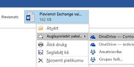 Outlook pielikumu augšupielāde pakalpojumā OneDrive