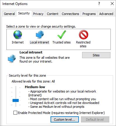 Internet Explorer opcijas, kas rāda pogas Pielāgots līmenis cilnes Drošība