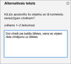 Alternatīvā teksta rūts alternatīvā teksta pievienošana attēlam programmā Outlook