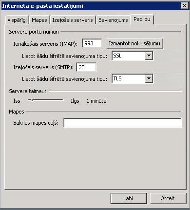 Ekrānuzņēmums ar dialoglodziņa Interneta e-pasta iestatījumi cilni Papildu.