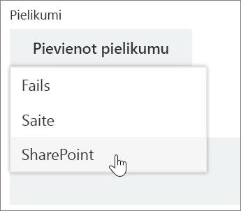 Ekrānuzņēmums ar uzdevumu loga apgabalu Pielikumi, kurā ir atvērta opcija Pievienot sarakstu.